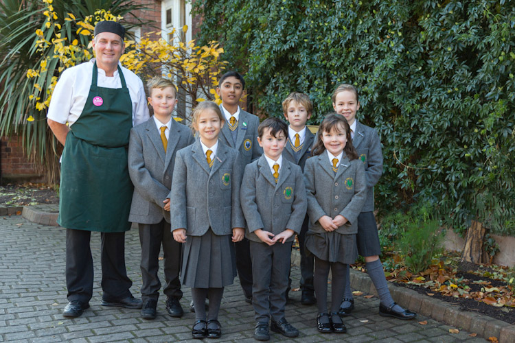 The Firs School chester school council with Chef James Currie